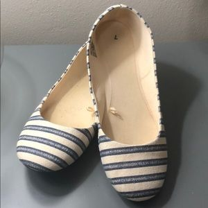 Shoes - Nautical blue and cream stripe ballet flats